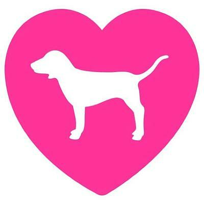 "Pink heart love dog victoria secret vinyl decal sticker 4""x4"""