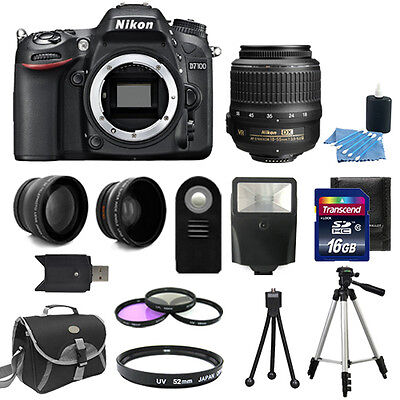Nikon D7100 Digital SLR Camera Body + 3 Lens Kit 18-55mm Lens +16GB Bundle