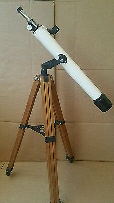 Vintage Telescope Precision Made-Focal finder scope with wooden tripod,