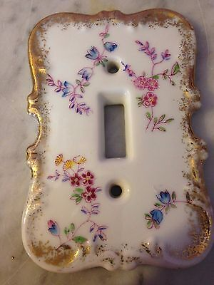 Hand Painted Single  Light Switch Porcelain Floral,          g58