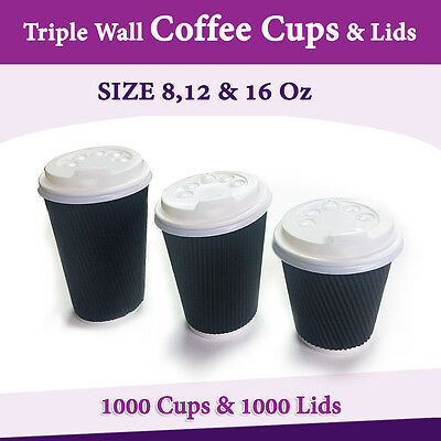 Disposable Coffee Cups Triple Wall 8Oz 12Oz 16Oz W/Lids Takeaway Black Cups Bulk