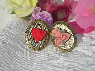 Clearance!! Red & Pink Floral Cabochon Adjustable Poison Rings: Lot Of 2 !