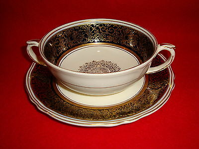 Grindley CREAMPETAL Black & Gold 2 TWO HANDLED CREAM SOUP BOWL W/ UNDERPLATE