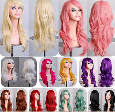 Women Girl Long Curly Wavy Full Wig Blonde Hair Cosplay Party Costume 7colors