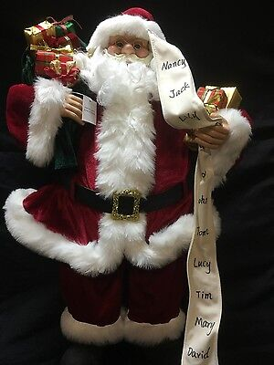 "Large Traditional Santa Claus Figurine, red doll 82cm (32"") Christmas Decoration"