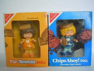 Rare Set Of 2 1983 Nabisco Fig Newtons Doll + Chips Ahoy ! Doll Cookies Figures