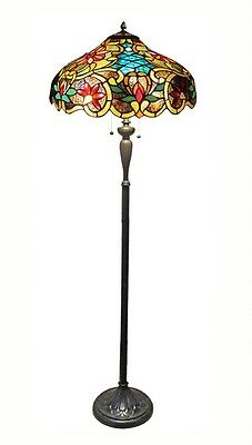 Spectacular Victorian Verano Amber Bronze Stained Glass Floor Lamp