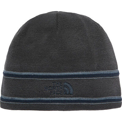North Face Logo Unisex Headwear Beanie Hat - Graphite Grey Urban Navy One Size