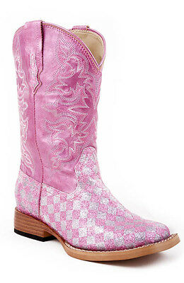 ROPER - Kid's Glitter Boots - Checkerboard Pink - ( 18-901-028 ) - New