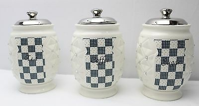 NEW Set of 3 Ceramic Tea/Coffee/Sugar Canisters 17425
