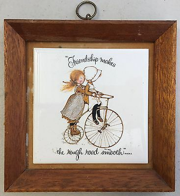 Holly Hobbie Wall Tile in Timber Frame, Friendship makes the rough road smoother