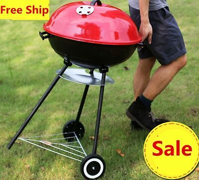 New Portable Black Trolley BBQ Grill Charcoal Barbecue Wood Barbeque Picnic UK