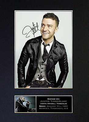 JUSTIN TIMBERLAKE Signed Mounted Autograph Photo Prints A4 331