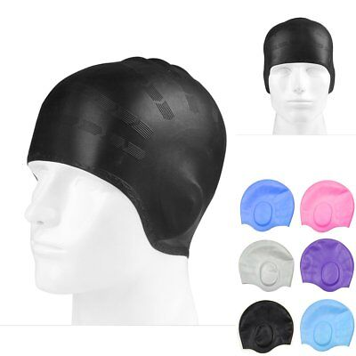 Unisex Adult Silicone Stretch Swimming Long Hair Cap Hat Ear Cup Waterproof New
