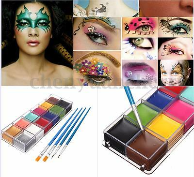12 Colors Face Body Paint Oil Painting Art Make Up Halloween Party Brushes Set