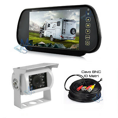 "Kit Retromarcia Specchietto 7"" LCD Retrocamera HD LED Cavo 10 MT per Auto Camper"