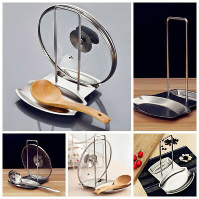 Stainless Steel Pan Pot Rack Cover Lid Rest Stand Spoon Rest Holder Organizer