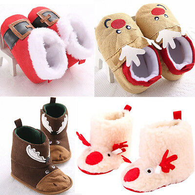 Christmas Baby Boy Girl Toddler Infant Snow Boots Soft Sole Crib Shoes Prewalker