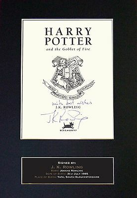 J.K. ROWLING Harry Potter  Signed Mounted Autograph Photo Prints A4 412