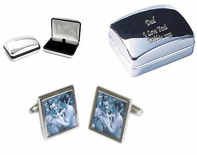 Photo Cufflinks + Personalised Engraved Chrome Case your words. Dads Mens Gift