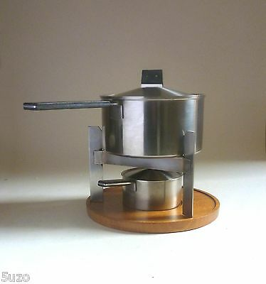 CARL AUBOCK Amboss Austria FONDUE SET. Stainless Steel Wood Handles/Stand 1950s