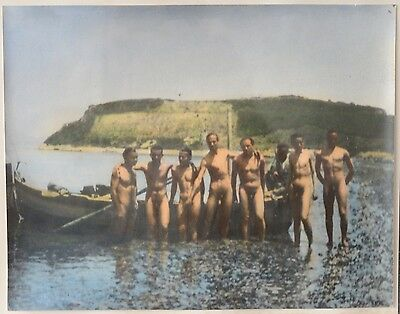Vintage Photo Of Seven Naked Men Next Of A Boat At The Sea