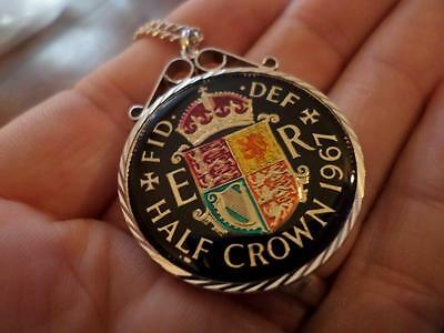 VINTAGE ENAMELLED HALF CROWN COIN 1967 PENDANT & NECKLACE. 50th BIRTHDAY PRESENT