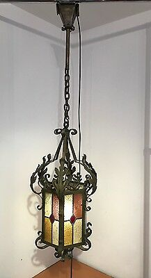 Impressive Large Vintage French Stained Glass Wrought Iron Lantern Light Hall.