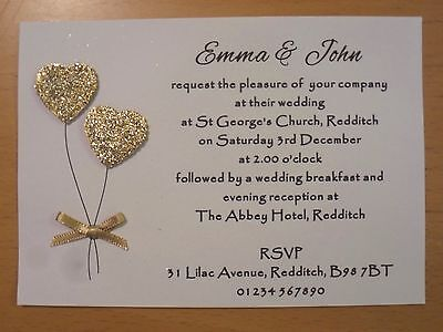 50 Handmade Personalised Wedding Invitations Day/Evening
