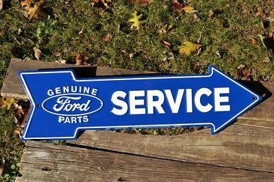 Ford Service Genuine Parts Embossed Arrow Tin Metal Sign - Dealer - Trucks