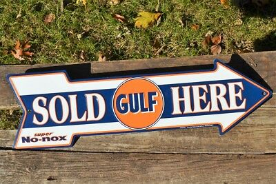 Gulf Gas & Oil Sold Here Embossed Arrow Tin Metal Sign - Gasoline - Super No-Nox