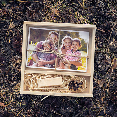"""Handmade natural wood photo box for 4x6"""" (10x15cm)+ Flash Drive for family photo"""