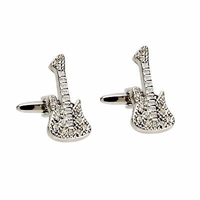 Harvey Makin Rhodium Plated Cufflinks Crystal Diamantes Guitar Gift Boxed