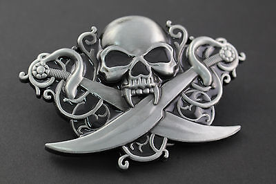 Skull & Crossed Swords  Metal Belt Buckle