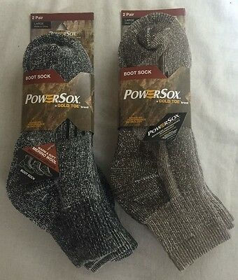 Adult Goldtoe 2-Pairs Powersox Wool-Blend Boot Ankle Socks -M / L -Black / Taupe