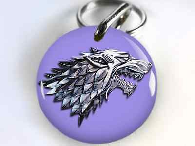 Stark Wolf Game of Thrones GOT dog cat custom tag for pets Purple LAVENDER
