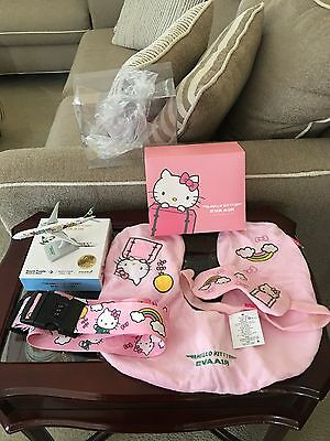 Hello Kitty Eva Air Collectibles Plane, Neck Pillow, Eye Patch And Luggage Belt