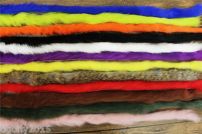 Top Quality 12 Colours Fine Rabbit Strips ZONKER STRIPS Fly Tying Materials