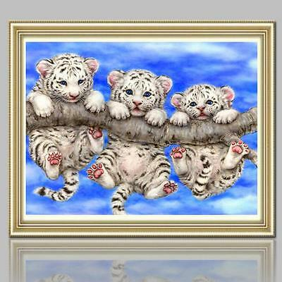 5D Diamond Embroidery Painting Three Little Tigers Mosaic Cross Stitch Craft Kit