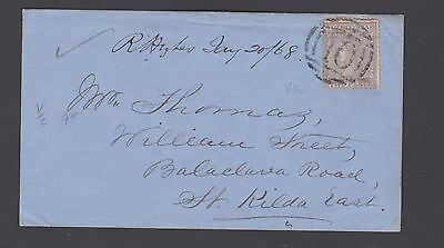 """Victoria 1868 2D Cover Warnambool """"10"""" To St Kilda East Vf Cond  (Be171)"""