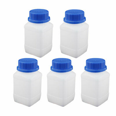5Pcs 250ml Plastic Square Wide Mouth Chemical Sample Reagent Bottle Thickening