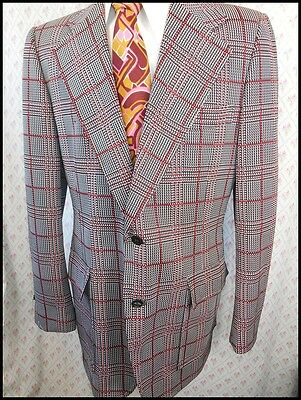 Vintage 60s 70s Red White & Black Polyester Peter Jackson Jacket 40 Anchorman