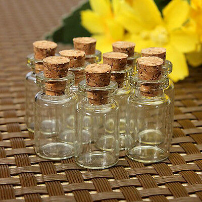 10pc Clear Small Cork Stopper Mini Glass Vial Jars Containers Bottle 24x12mm New
