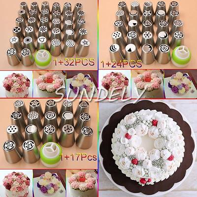 32x Russian Tulip Icing Piping Nozzle Stainless Tips Flower Cake Decor Tool DIY