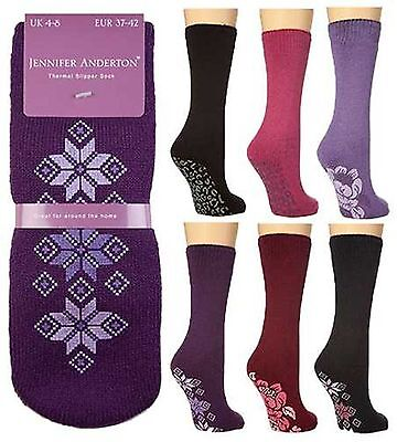 6X Pairs Women Ladies Soft Winter Warm Thermal Gripper Slipper Socks Bed Sock