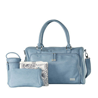 NEW Isoki Double Zip Satchel Nappy Bag - Eden - Blue