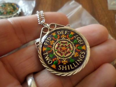 Vintage Enamelled Two Shilling Coin 1957 Pendant & Necklace. Birthday Xmas Gift