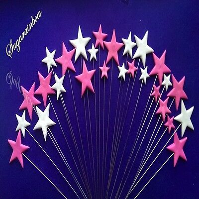 24 Edible sugar cake decorations stars on wires toppers DEEP PINK/WHITE
