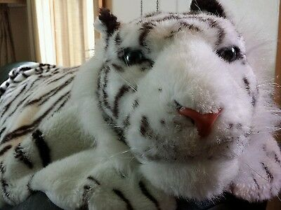 """Large Faux Fur Tiger skin RUG White The Great American Toy CO. W/ Head- 80""""x 43"""""""