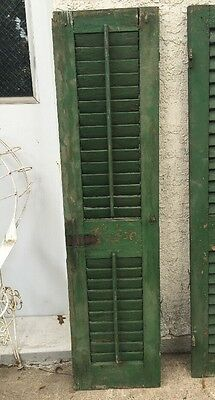 "Vtg WOOD PANEL wooden Shutter cabinet door architectural salvage 59"" (b"